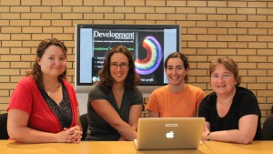 Rachel Hackett (DMM and BiO), Katherine Brown (Development), Camille Viaut (intern), Claire Moulton (publisher)