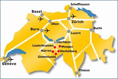 Map of Switzerland airports