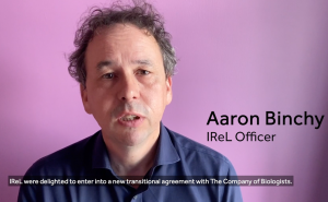 Short video: IReL Officer Aaron Binchy talks about the Read & Publish agreement between IReL and The Company of Biologists